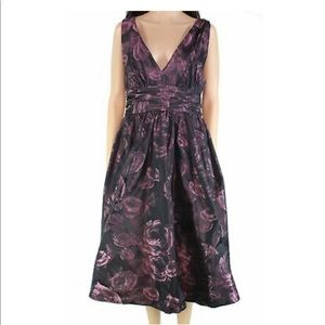 Tracy Reese Dress A-Line Jacquard Metallic Floral